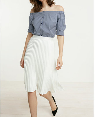 Express High Waisted Satin Pleated Midi Skirt $88 thestylecure.com