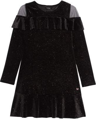 Bebe Glitter Velour Dress