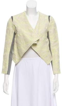 Yigal Azrouel Cut25 by Leather-Trimmed Long Sleeve Blazer