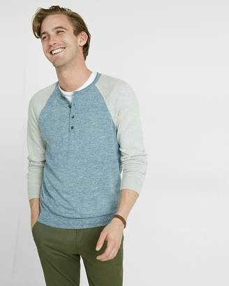 Express Color Block Raglan Henley Sweater