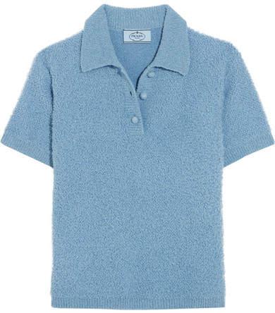 Prada - Wool-blend Bouclé Polo Shirt - Sky blue