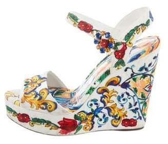 Dolce & Gabbana Portofino Printed Wedge Sandals