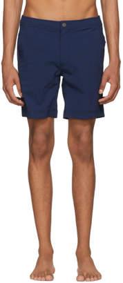 Onia Navy Striped Calder Swim Shorts