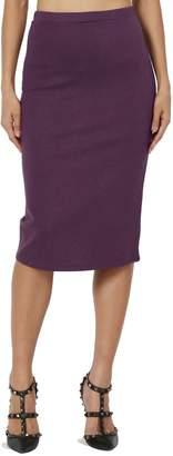 Ash TheMogan Women's Stretch Cotton Elastic High Waist Pencil Midi Skirt Burgundy M