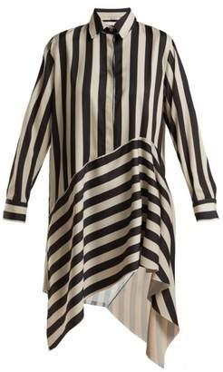 Marques Almeida Marques'almeida - Striped Asymmetric Satin Shirtdress - Womens - Black White
