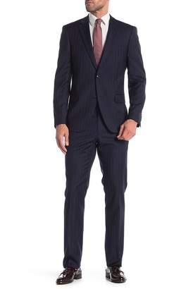 Tommy Hilfiger Navy Brown Stripe Two Button Notch Lapel Classic Fit Suit