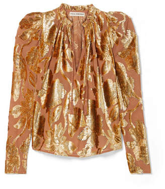 Ulla Johnson Camilla Devoré-chiffon Blouse - Metallic