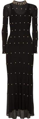 Sonia Rykiel Pearl-embellished Stretch-knit Maxi Dress - Black