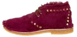 Prada Ponyhair Stud-Embellished Ankle Boots w/ Tags