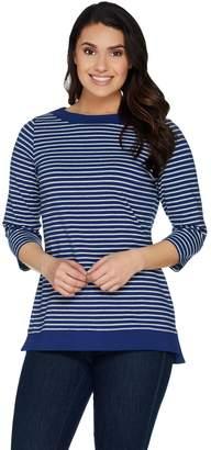 Denim & Co. Boat Neckline Striped 3/4 Sleeve Tunic w/ Solid Trim