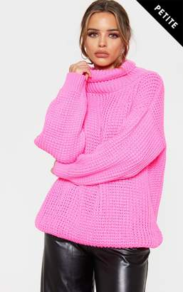 PrettyLittleThing Petite Cream Roll Neck Oversized Chunky Knit Jumper