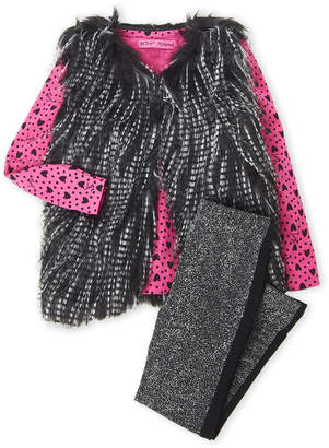 Betsey Johnson Toddler Girls) 3-Piece Faux Fur Shaggy Vest & Glitter Leggings Set