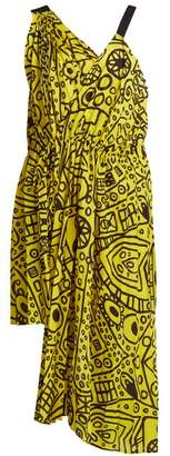 COLVILLE Abstract-print asymmetric tie-waist dress