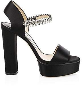 Jimmy Choo Women's Santina Glitter Strap Satin Platform Heels