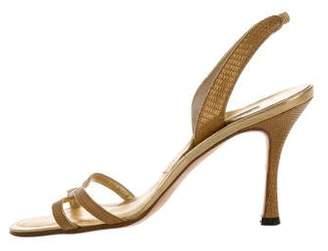 Manolo Blahnik Embossed Leather Slingback Sandals