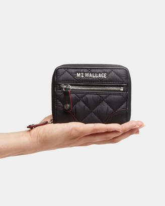 MZ Wallace Black with Silver Hardware Crosby Mini Wallet