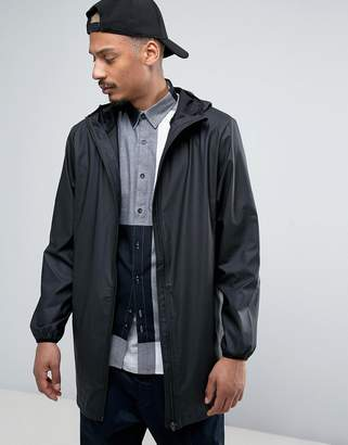 Rains base long hooded jacket waterproof concealed ziPS in black