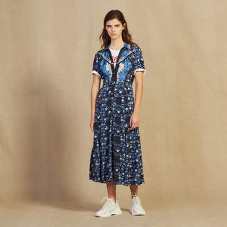 d7666413ef3 Sandro Long flowing printed shirt dress