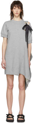 Sacai Grey Asymmetric Lace-Up Dress