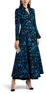 Rebecca de Ravenel Women's Floral Silk-Wool Long Coat - Navy