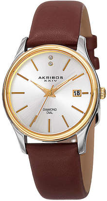 Akribos XXIV Womens Two-Tone Brown Leather Strap Watch