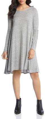 Karen Kane Faux Leather-Trimmed Swing Dress