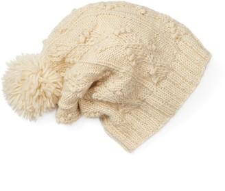 Sijjl Women's SIJJL Wool Cable-Knit Slouchy Pom-Pom Beanie