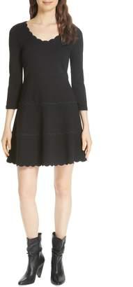 Kate Spade scallop ponte fit & flare dress