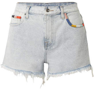 Splendid Margherita Amore Embroidered Frayed Denim Shorts - Light denim