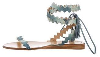 Etro Leather Ankle Strap Sandals Green Leather Ankle Strap Sandals