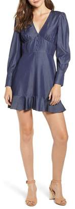 Moon River Chambray Ruffle Hem Dress