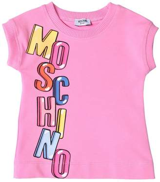 Moschino Logo Printed Cotton Sweatshirt Dress