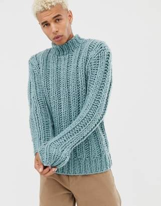 Asos DESIGN hand knitted heavyweight turtleneck sweater in light blue