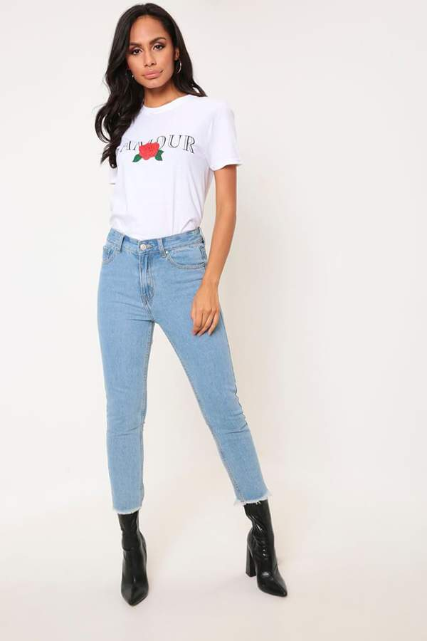 Isawitfirst Light Wash High Rise Star Print Mom Jeans