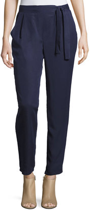 Bobeau Side-Tie Straight-Leg Trousers, Navy $65 thestylecure.com