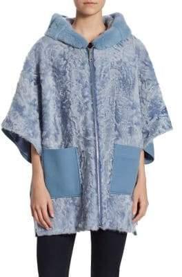 Julia & Stella Shearling& Mink Fur Hooded Jacket