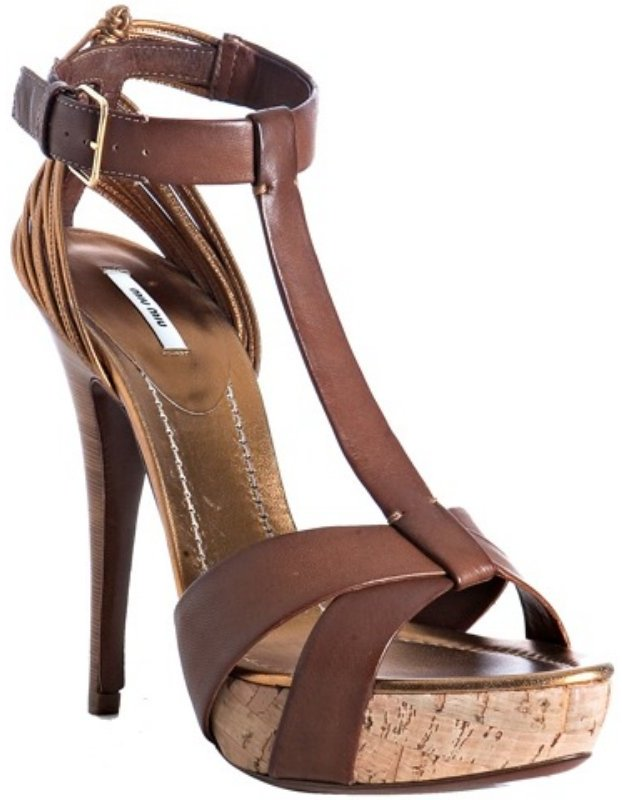 Miu Miu brown leather t-strap platform sandals
