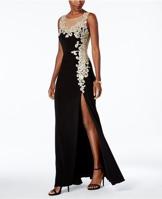 Betsy & Adam Embroidered Illusion Gown $289 thestylecure.com