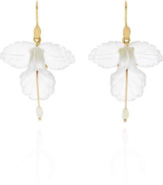 Annette Ferdinandsen 18K Gold, Quartz And Pearl Orchid Earrings