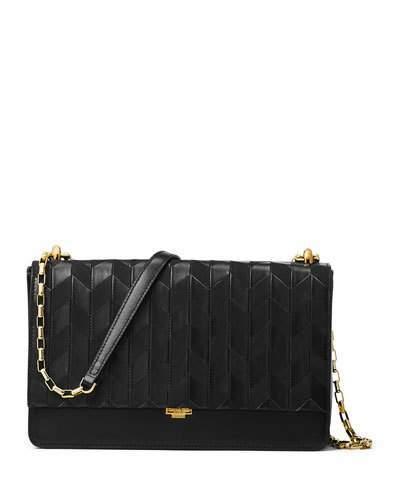 MICHAEL Michael KorsMichael Kors Yasmeen Medium Chevron Leather Shoulder Bag, Black