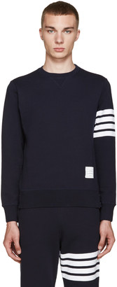 Thom Browne Navy Classic 4 Bar Pullover $510 thestylecure.com