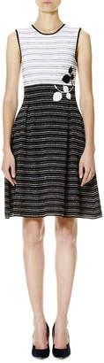 Carolina Herrera Leaf-Embroidered Tweed Sleeveless Fit-&-Flare Dress