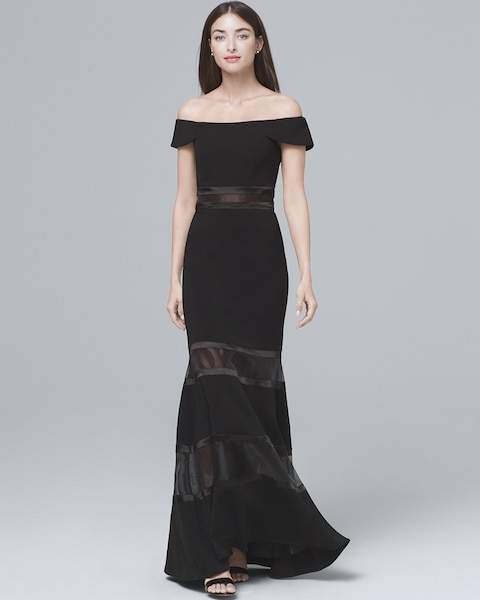 Whbm Black Off-The-Shoulder Banded Gown