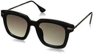 Zerouv Oversize Slim Metal Temple Square Lens Horn Wayfarer Sunglasses
