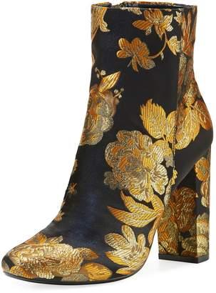 Neiman Marcus Bucasia Floral Brocade Booties