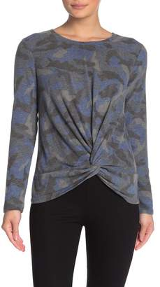 Cable & Gauge CG Cozy Twist Front Camo Pullover Sweater