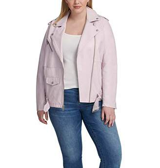 Levi's Women's Oversized Faux Leather Belted Motorcycle Jacket (Standard & Plus Sizes)