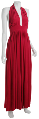 Norma Kamali red jersey long halter dress