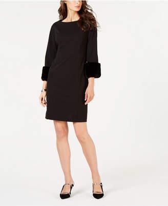 Alfani Faux-Fur-Trimmed Shift Dress