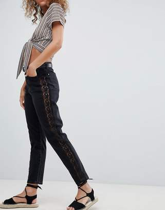 Miss Selfridge Crochet Side Stripe Mom Jeans